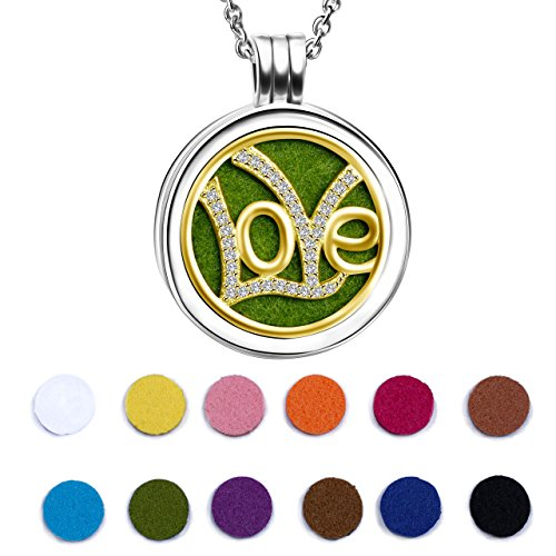 Angemiel 925 Sterling Silver 18K Gold Plated Love Essential Oil Diffuser Locket Necklace
