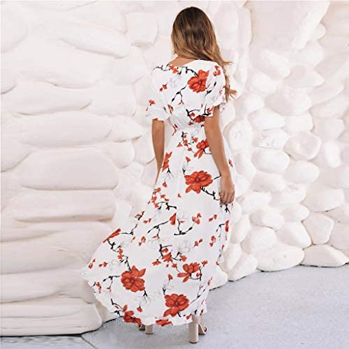 Mlide Womens Floral Print Dresses Sleeveless Racerback Casual Swing T-Shirt Dress Summer Casual V Neck Bow Tie Club Dress