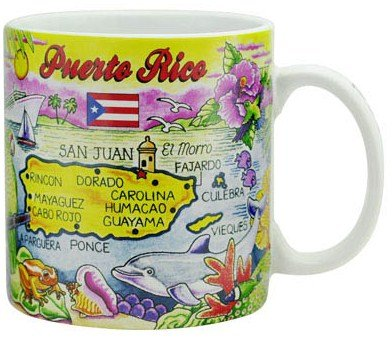 Puerto Rico Map Caribbean Souvenir Collectible Large Coffee Mug (4