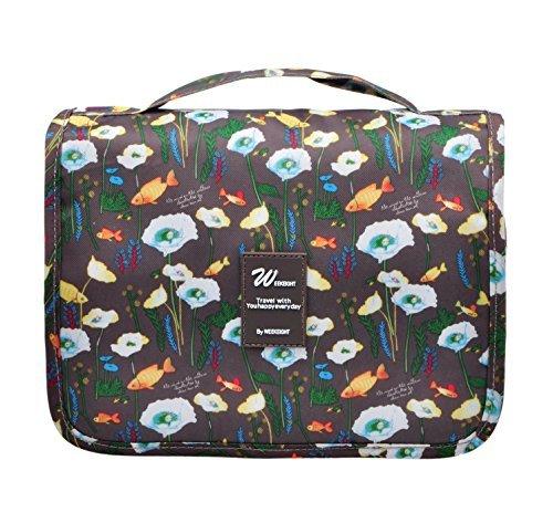 51a19dd302eb Vercord Hanging Toiletry Bag Portable Travel Organizers Cosmetics Makup Bag  Case Shaving Kit, Coffee Goldfish