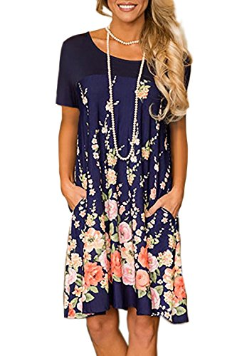 Minipeach Women's Floral Print Crew Neck T-Shirt Dresses with Pockets