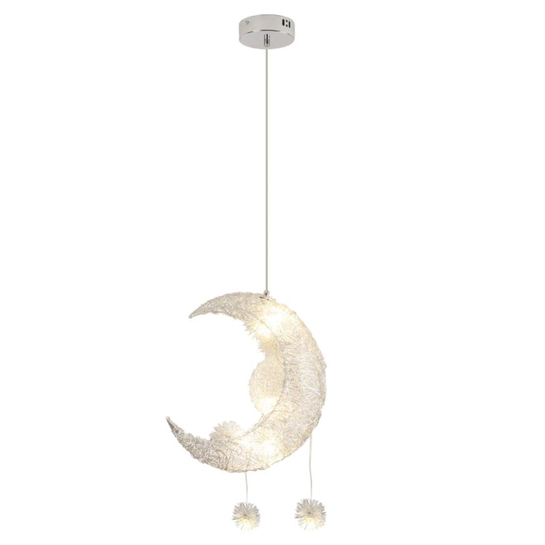 SOUTHPO Moon Pendant Light Lamp Fixture Aluminum Chandeliers for Dining Rooms Girls Bedrooms Children Room Modern LED Star Adjustable Hanging Lights,5×G4,Max 25W,Warm White Light,Ø12.6 inches,Silver