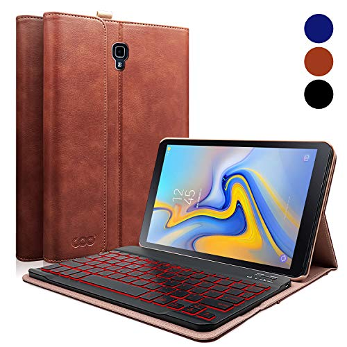 COO Keyboard Case for Galaxy Tab A 10.5, Heavy Duty PU Leather Case with Detachable Backlit Wireless Keyboard Compatible 2018 Samsung Galaxy Tab A 10.5 (Model SM-T590/T595), Brown