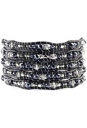 Chan Luu Mystic Black Spinel Mix Wrap Bracelet on Natural Black Leather