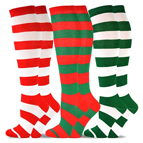 TeeHee Christmas and Holiday Fun Knee High Socks for Women 3-Pack (Rugby Stripe Candy - Candy Knee Stripe Socks High
