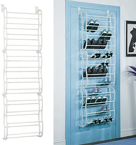 GPCT Over the Door Wall Hanging 36-Pair Shoe Rack. Fits Over Standard-Size Doors, 12 Shelves Design, Holds Sneakers, Heels, Sandals, Low Boots. Shelf Closet Wall Hanging Organizer Storage Shoe Stand