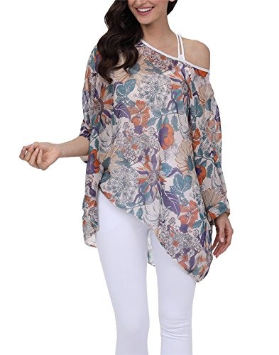 oral Chiffon Blouse Casual Batwing Blouse Hippie Semi Sheer Loose Tops 4304 (Hippie Tunic Blouse)