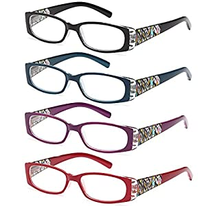 ALTEC VISION Pack of 4 Stylish Pattern Frame Readers Spring Hinge Reading Glasses for Women - 2.50x Magnification