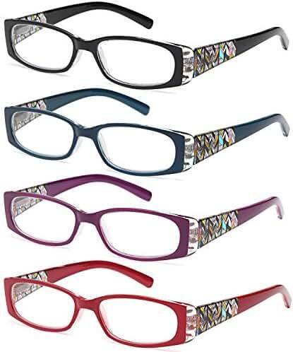 AV Pack of 4 Stylish Pattern Frame Readers Spring Hinge Reading Glasses for Women - Choose Your Magnification
