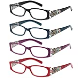 ALTEC VISION Pack of 4 Stylish Pattern Frame Readers Spring Hinge Reading Glasses for Women - Choose Your Magnification