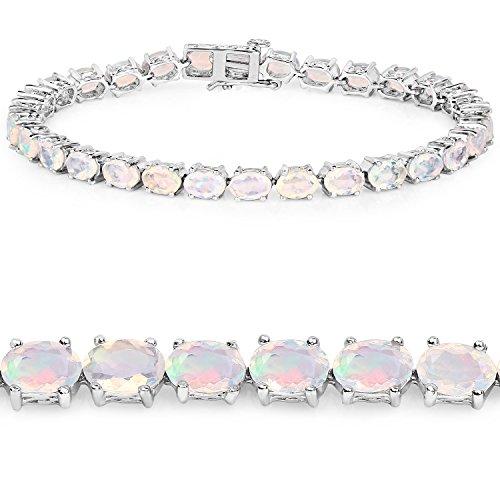 Opal Oval Bracelets (Genuine Oval Ethiopian Welo Opal Bracelet in Sterling Silver)