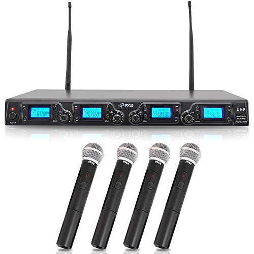PYLE PDWM4360U 4 Channel UHF Adjustable Fequencies Wireless Microphone System, UHF, 4 Handheld Microphones, Rack Mountable Wireless Quad