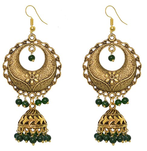 Sansar India Beaded Gold Plated Long Jhumka Indian Earrings Jewelry for Girls and (Indian Style Earrings)