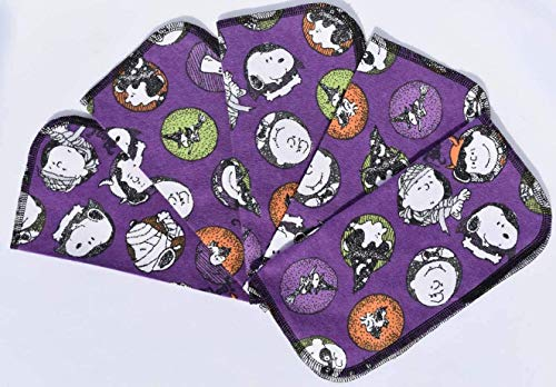 1 Ply Printed Flannel 9x9 Inches Little Wipes Set of 5 Charlie Brown Halloween]()