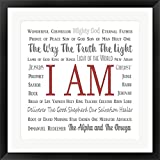 Names of Jesus Square Gray and Red Text by Inspire Me Framed Art Print Wall Picture, Black Frame, 27 x 27 inches