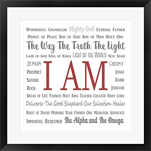 Names of Jesus Square Gray and Red Text by Inspire Me Framed Art Print Wall Picture, Black Frame, 27 x 27 inches by Great Art Now