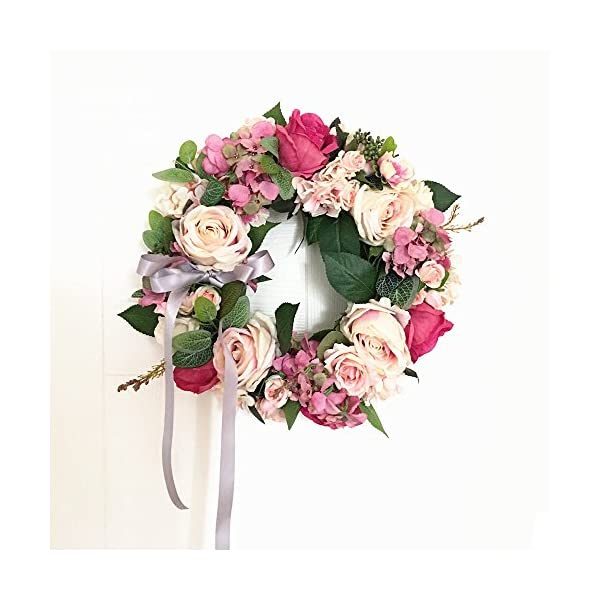 LI HUA CAT Handmade Floral Artificial Flowers Garland Rose Wreath for Home Party Decor (Valentine's Wreath-Pink)