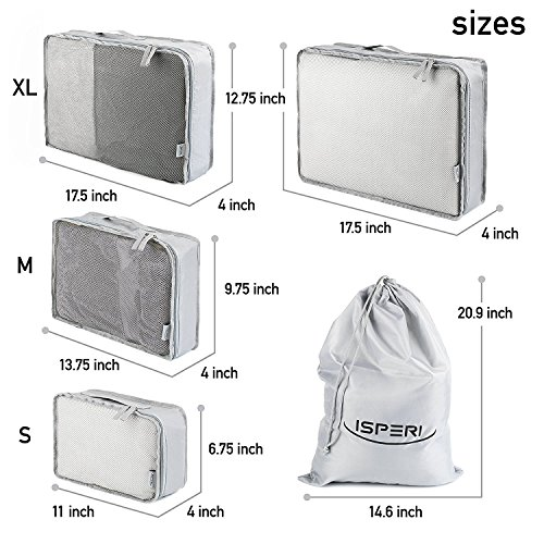 5 Set Packing Cubes - Travel Luggage Packing Organizers with Laundry Bag - Packing Cube by Isperi by Isperi (Image #2)