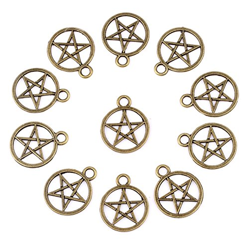 20 Pieces Magic Pentacle Star Protection Lucky Charms Findings for Jewelry Pendant Necklace Making 20mm