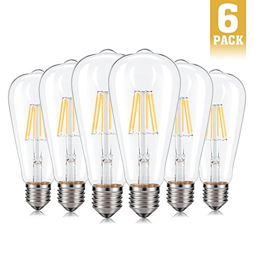 6 Light 60w Pendant (Dimmable Edison LED Bulbs, FairyGarden 6W ST64 Vintage Edison LED Filament Light Bulbs, 2700K Warm White, 60W Incandescent Equivalent, E26 Base For Chandelier, Pendant, Kitchen, Lamps, 6 Pack)