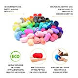 Glaciart Felted Wool - Unspun Needle Felt Roving & Felting Yarn Craft Supplies (70 Pieces) Multi Colored (Green, Red, Black, Blue, Yellow, White & More) Soft Raw Fiber for Fabric, Material & Crafting