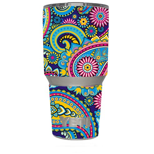 Skin Decal Vinyl Wrap (6-piece kit) for Yeti 30 oz Rambler Tumbler Cup / Colorful Paisley Mix