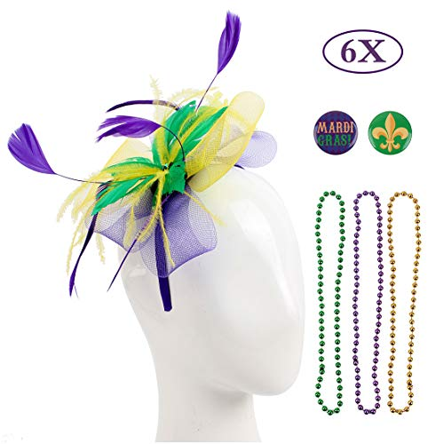 Felizhouse Sinamay Fascinator Hats Headband Tea Party Cocktail Headwear Pillbox Hat Kentucky Derby Wedding Headpiece (#1 Mardi Gras Beads Feather Mesh)