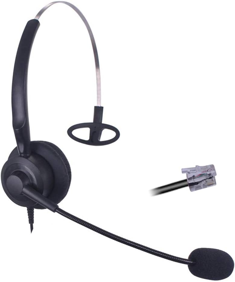 Bemma Auriculares Teléfono Fijo RJ9 Mono con Micrófono Cancelación de Ruido, Cascos Manos Libres para Centro de Llamadas para Avaya 1608 9608 Yealink T21P T42G T48G Snom 320 370 710 Cisco 7911 B200Y1