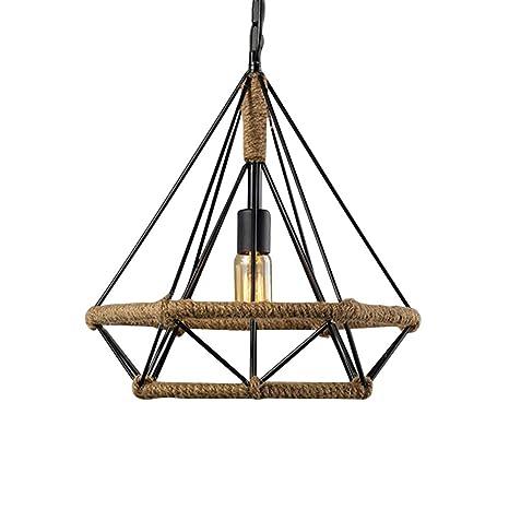 Cáñamo Cuerda lámpara colgante retro jaula lámpara de techo ...