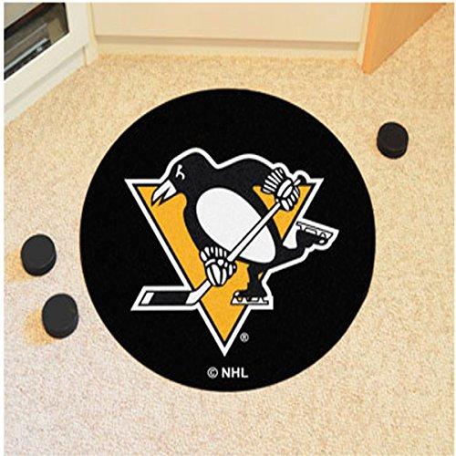 NHL - Pittsburgh Penguins Puck Mat 27 Inch Diameter Non Skid Rug Mat (Mat Pittsburgh Puck Penguins)