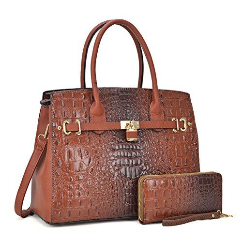 Embossed Large Satchel - Women Patent Leather Crocodile Embossed Handbags 2 Pieces Wallet Set Purse Coffee