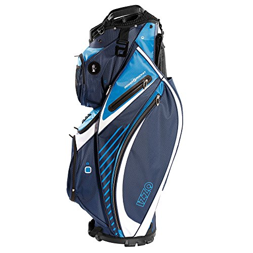 - IZZO Golf Gemini Cart Golf Bag - Dark Blue/Light Blue/White Magnetic Ball Pockets and has Large Beverage Cooler