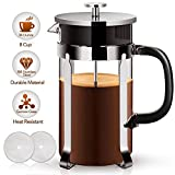 French Press - French Press Coffee Maker Coffee Press 34oz French Coffee Press with 304 Stainless Steel FDA Approved Food Grade Frame & Lid, German Glass, Professional Grade Screen for Easy Cleaning