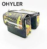 OHYLER Bike Bag, Bicycle Top Tube Phone Bag Bike Storage Bag for Max Phone Screen 6.0in with Touch Screen Phone Case(Black-Green)