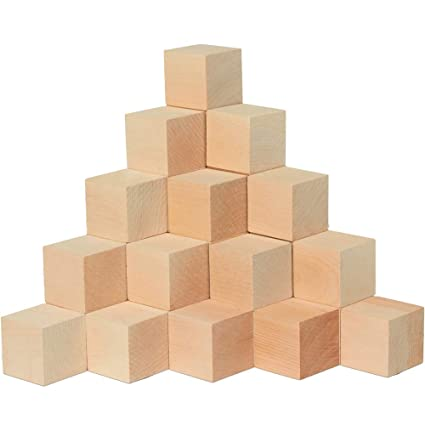 Wood Blocks 1 34 Inch Cubes 20 Pack Unfinished Wooden Toy Craft Supply Kit For Kids Adults Diy Art Projects Abc Toys Woodpeckers Crafts