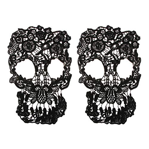 2PCS Skull Bridal Lace Applique Embroidery Wedding Motif Sew on Trim Patches
