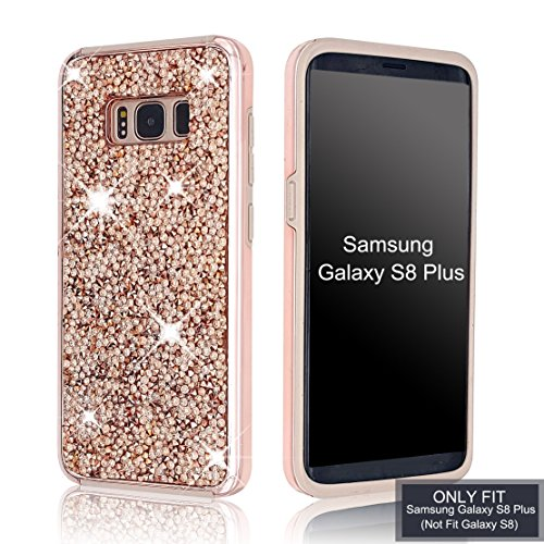 - Samsung Galaxy S8 Plus Case Shiny Glitter Sequin Hard Shell + TPU Rubber Gel Military Drop Proof Case Cover For Samsung Galaxy S8 Plus (Rose Gold)