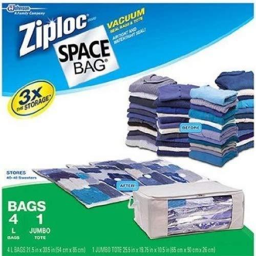 Ziploc Space Bag 4 Large and 1 Jumbo Tote S C Johnson Wax