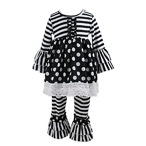 Wennikids Children Kids 2 Pieces Long Sleeve Ruffle Dress & Pants Outfits Large Black (Boutique Clothing For Toddlers)