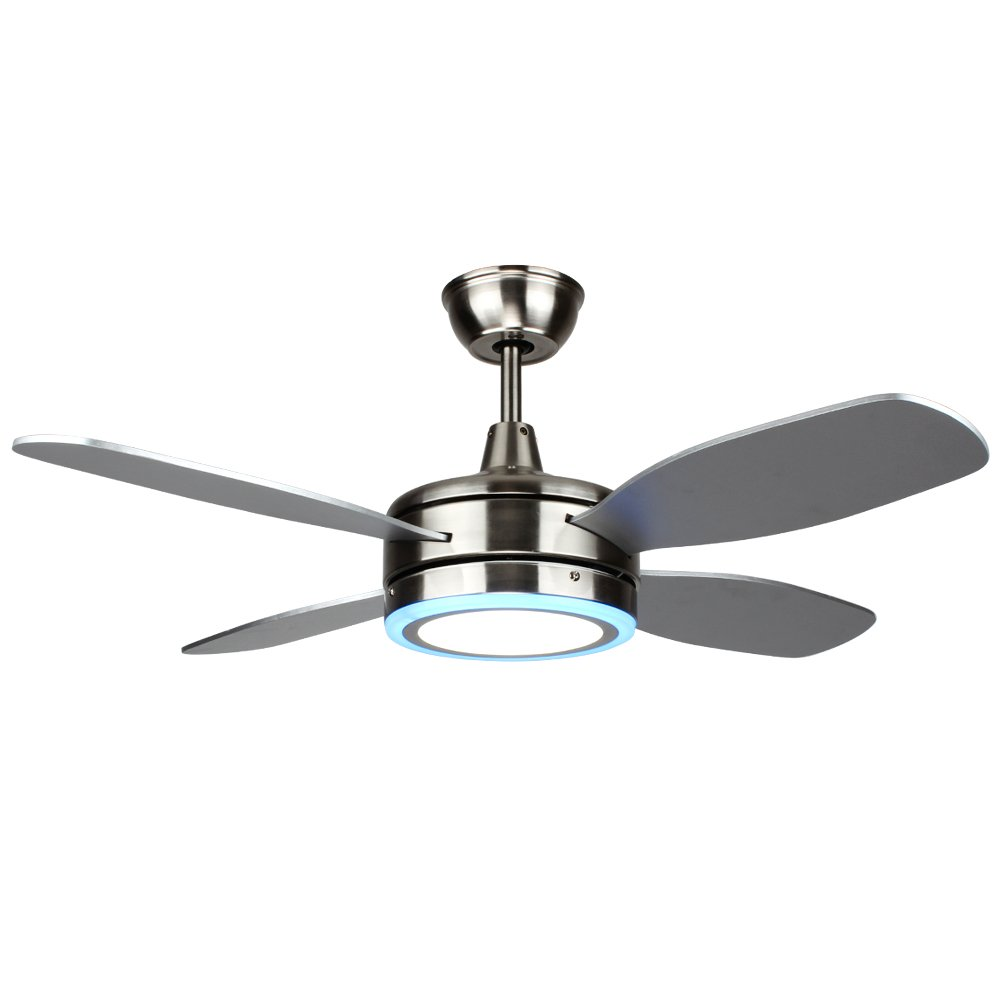 Akronfire Modern Ceiling Fan with Remote Control 1 Light 4 Blades for Living Room Hotel Rooms Restaurants of 52 Inch Fan Light