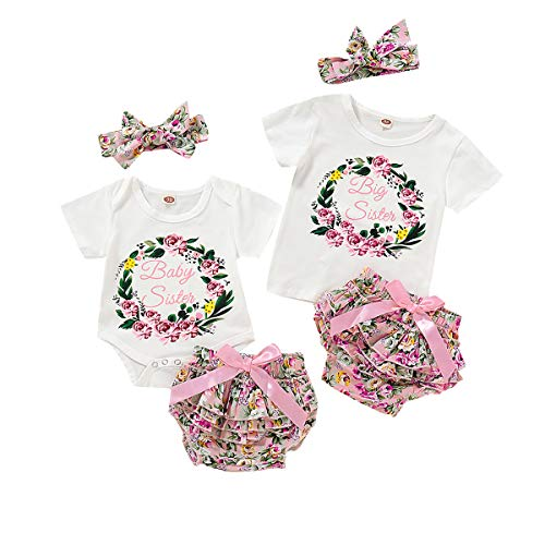 Toddler Baby Girls Sister Matching Outfit Letter Romper T-Shirt + Floral Tutu Shorts Pants Clothes Set (Baby Sister, 3-6 Months)