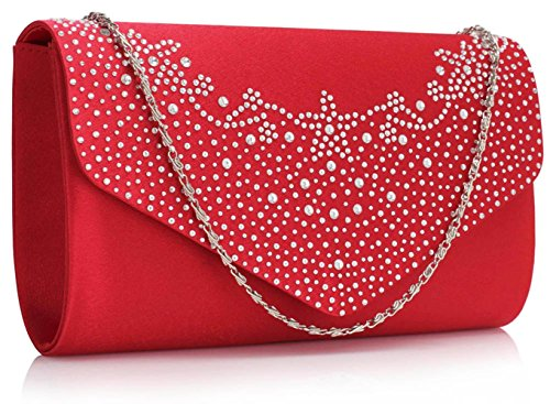 Small Size Ladies Women's Fashion Designer Celebrity Gorgeous Quality Faux Leather Flap Clutch Purse Evening Bag CWE00264A CWE00264 CWE00300 CWE00300-Red