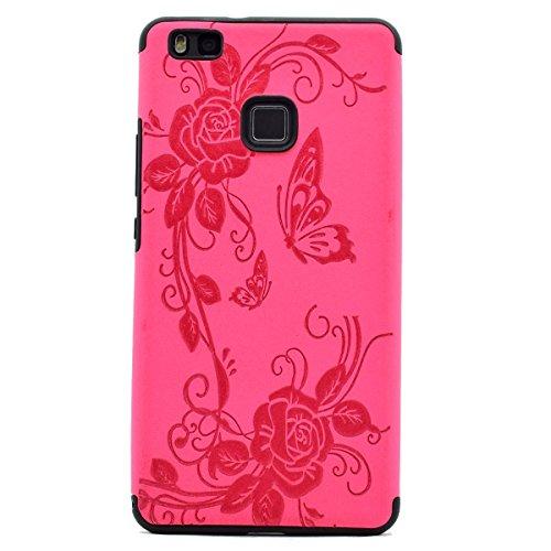 inShang Huawei P9 Lite,Ascend P9 Lite case Funda y Carcasa para Huawei P9 Lite case Huawei P9 Lite móvil, Ultra delgado y ligero Material de TPU, carcasa posterior (Back case) con , Rose butterfly flower