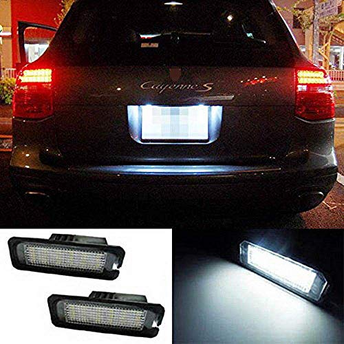 iJDMTOY OEM-Fit 3W Full LED License Plate Light Kit For Volkswagen Golf GTi CC Rabbit Eos Beetle Porsche Cayman Carrera Cayenne Boxster, Powered by 18-SMD Xenon White LED & Can-bus Error Free (Bus License Plate)