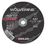 Weiler 56086 4'' x 1/16'' Wolverine Type 1 Cutting Wheel, A36T, 3/8'' A.H. (Pack of 50)