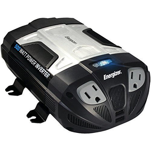 ENERGIZER 500W Power Inverter 12V DC cigarette lighter or battery clips to 120 Volt AC with 2 USB ports 2.1A shared