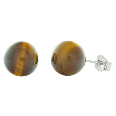 9d3c5906c Image Unavailable. Image not available for. Color: Trustmark 14K White Gold  8mm Natural Brown Tigers Eye Ball Stud Post Earrings
