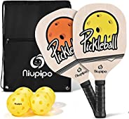 niupipo Wood Pickleball Paddles Set - Wooden Pickleball Set with 1 Carry Bag and 4 Balls, 7-ply Basswood, Pick