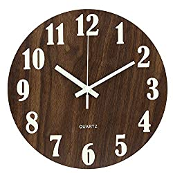 Ryuan 12 Inch Illuminated Wooden Wall Clock, Night Light Function Silent Non-Ticking Quartz Decorative Round Battery Operated Clocks Vintage Rustic Country Tuscan Style for Kitchen Home Office