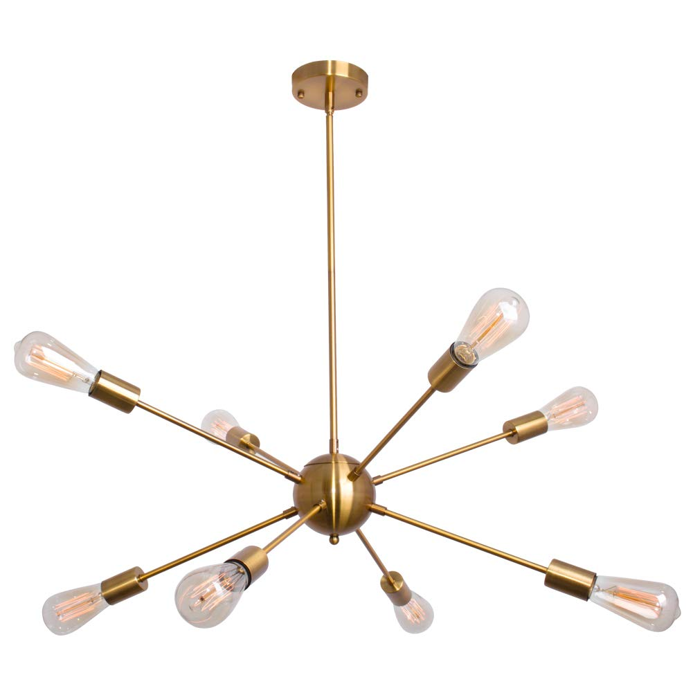 Sputnik chandelier 8 lights modern gold ceiling light fixture industrial brushed brass vintage pendant lighting for dining room kitchen living room